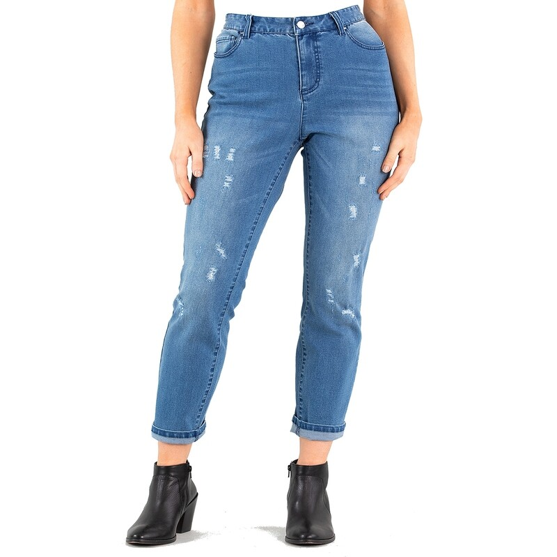 Cropped Length Stretch Denim Pants