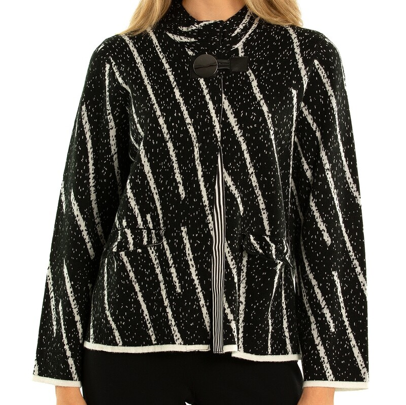 Wool Blend Abstract Stripe Knit Jacket