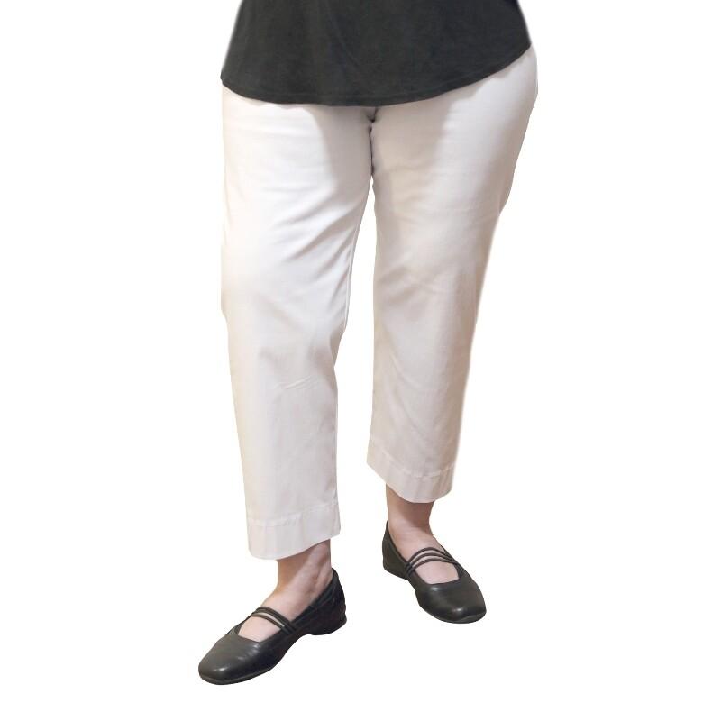 Three Quarter Stretch Bengaline White Pants