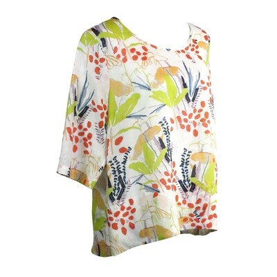Abstract Floral Print Ramie Hi Lo Top
