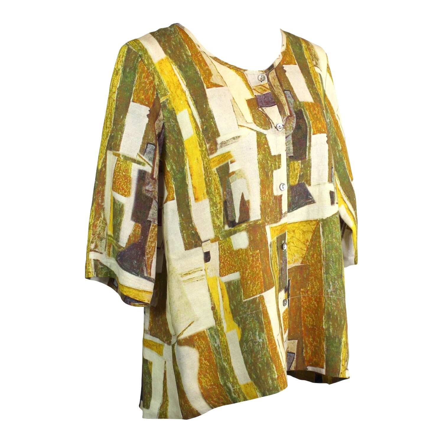 Abstract Print Hi Lo Button Front Linen Top