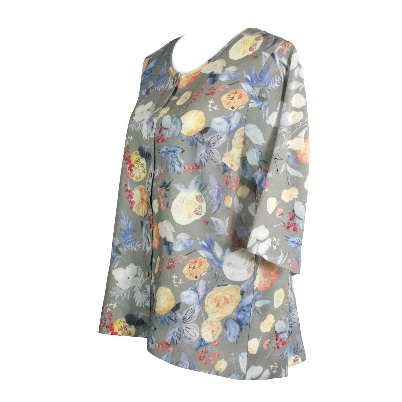 Floral Print Hi Lo Button Front Linen Top