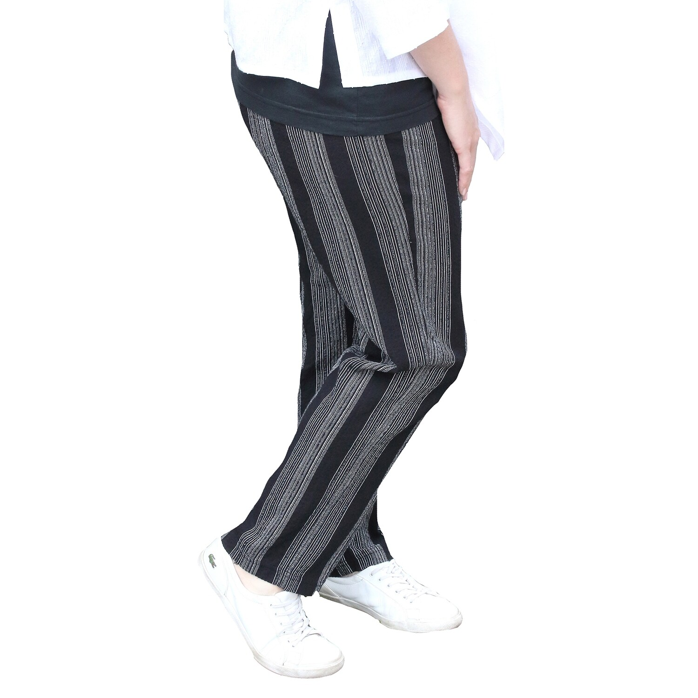 Linen and Cotton Blend Stripe Pants