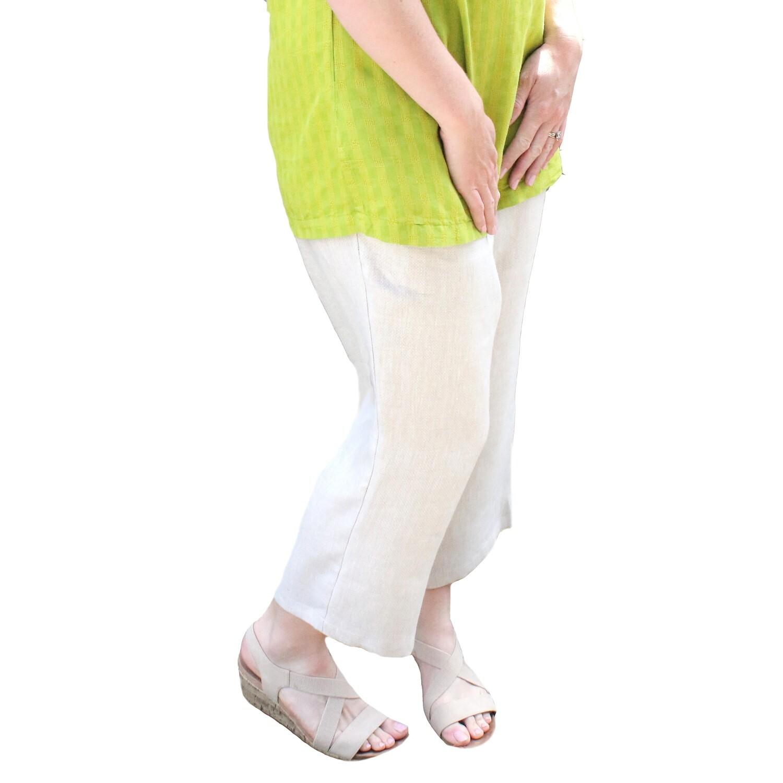 Cropped Straight Leg Linen Pants