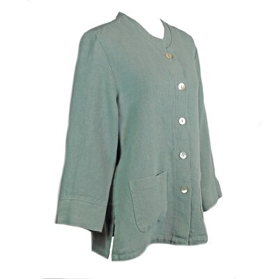 Relaxed Fit Sage Linen Jacket
