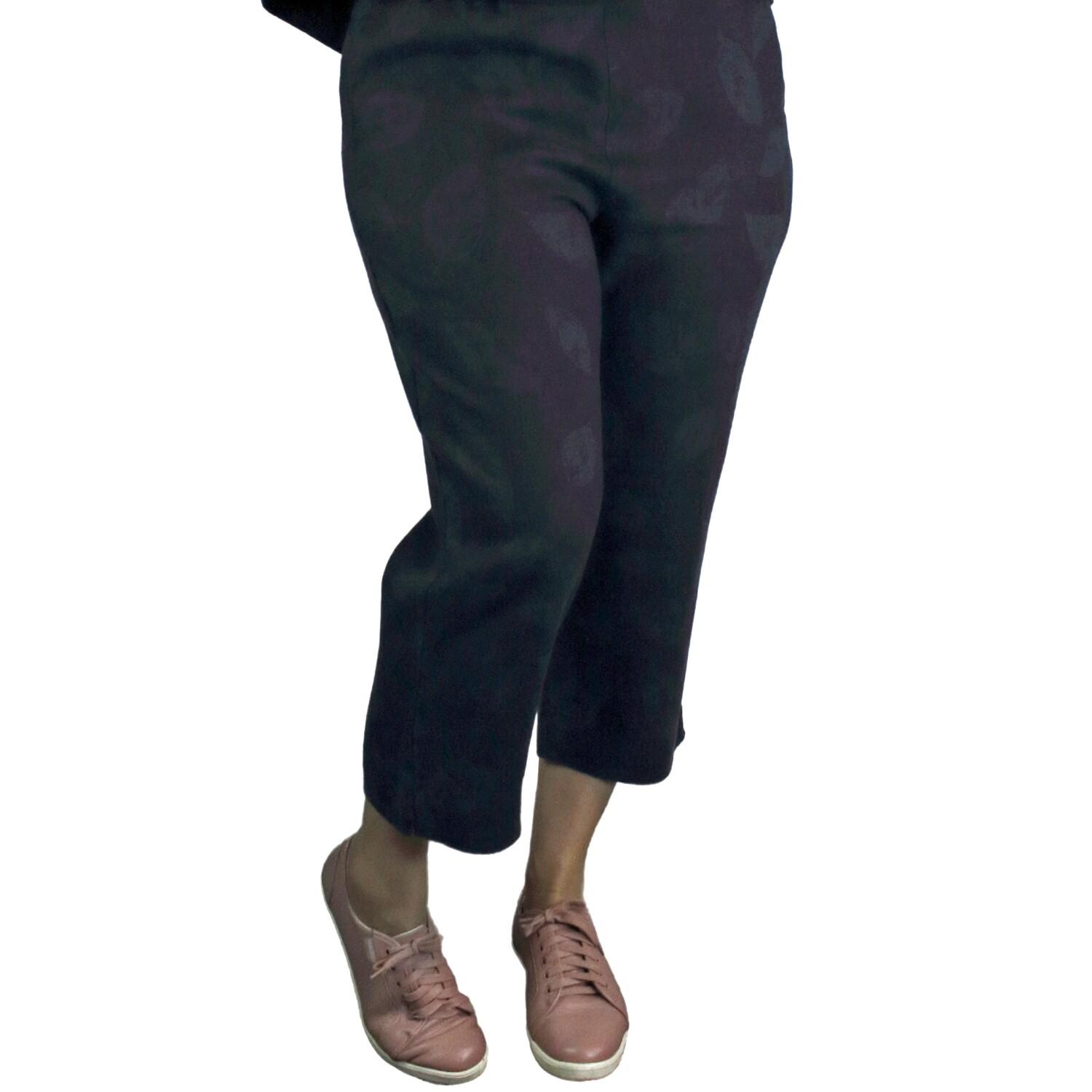 Pure Linen Navy Leaf Print Crop Pants