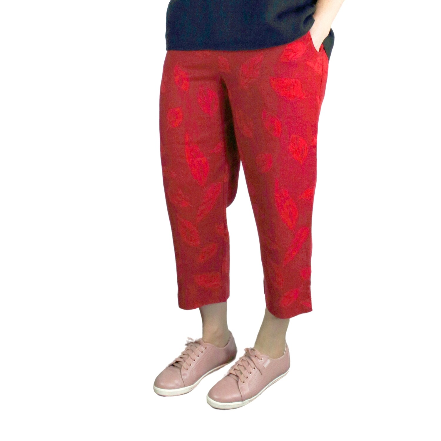 Red Pure Linen Leaf Print Crop Pants