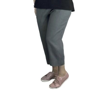 Pure Linen Grey Crop Pants