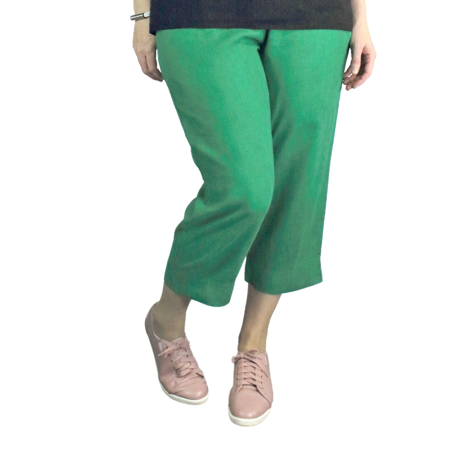 Pure Linen Emerald Crop Pants