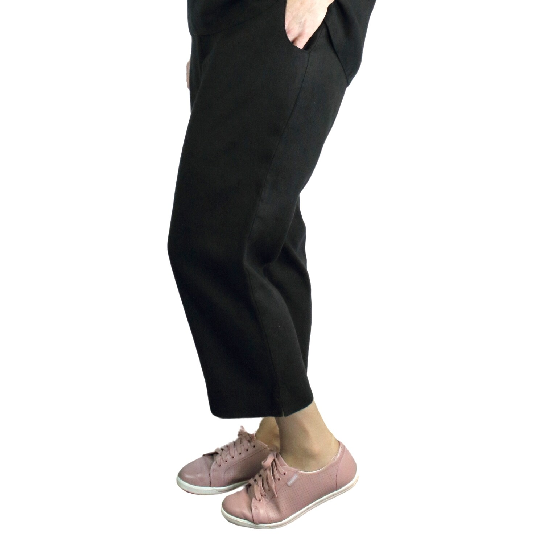 Pure Linen Black Crop Pants