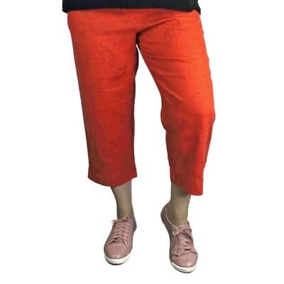 Pure Linen Orange Leaf Print Crop Pants