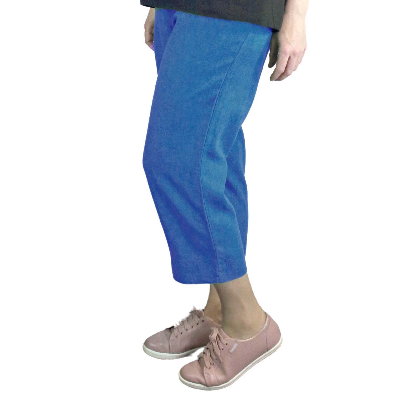Pure Linen Blue Crop Pants
