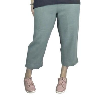 Pure Linen Sage Crop Pants