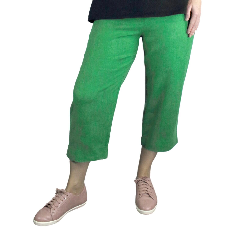Pure Linen Leaf Print Crop Pants