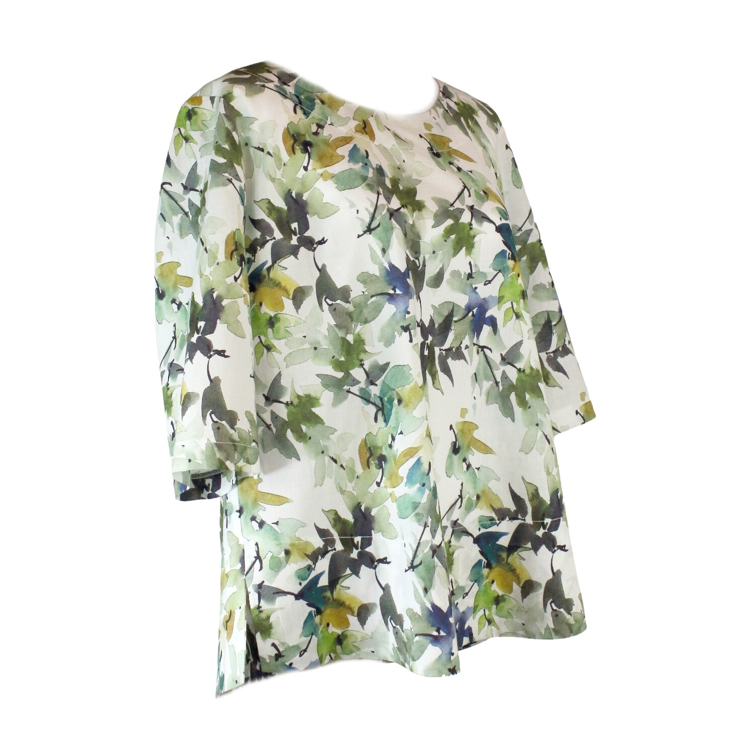 Abstract Leaf Print Linen Blend Top