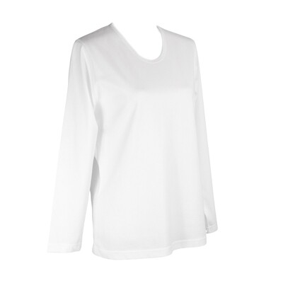 Soft Pure Cotton Long Sleeve White Tee