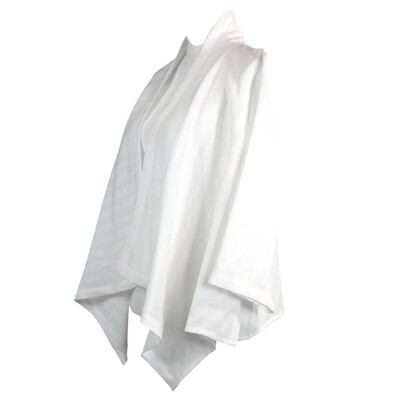 White Dobby Linen Waterfall Jacket
