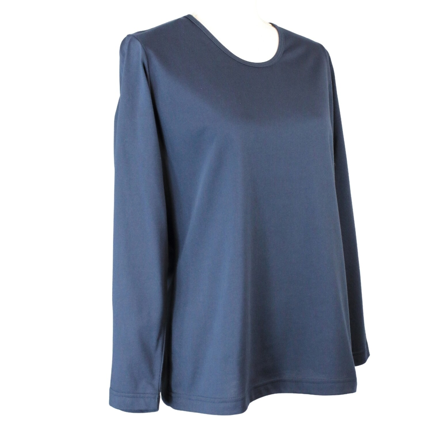 Soft Pure Cotton Long Sleeve Navy Tee