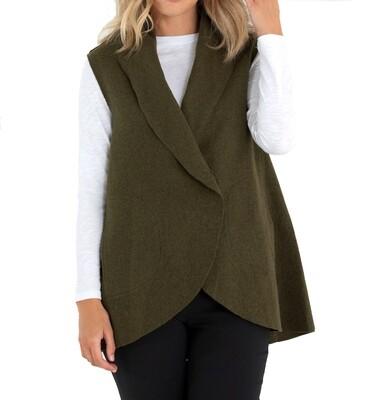 Boiled Wool Drape Vest by Marco Polo