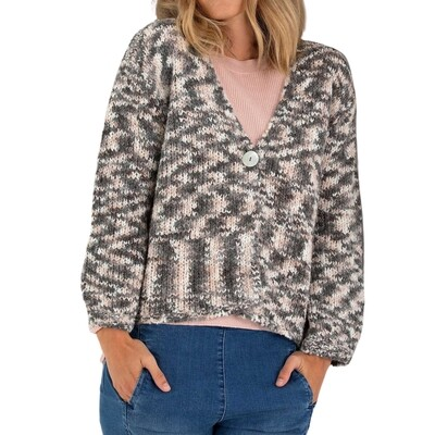 Abstract Mix Knit Cardigan by Marco Polo