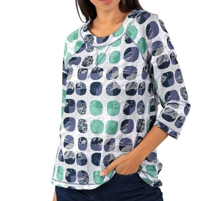 Abstract Spot Three Quarter Sleeve Tee by Yarra Trail