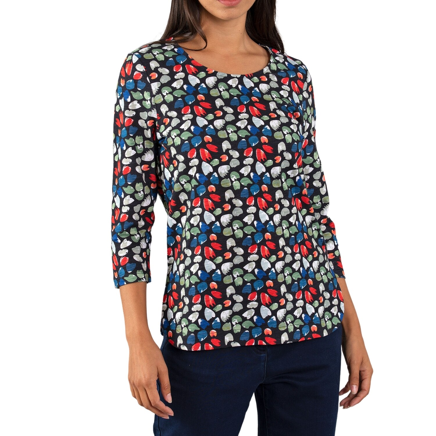 Cluster Print Navy Top by Yarra Trail