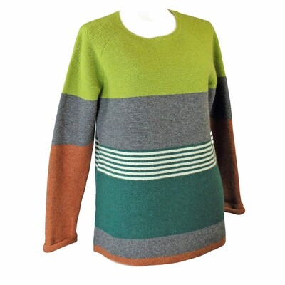 Lambswool Blend Colour Block Stripe Jumper by See Saw