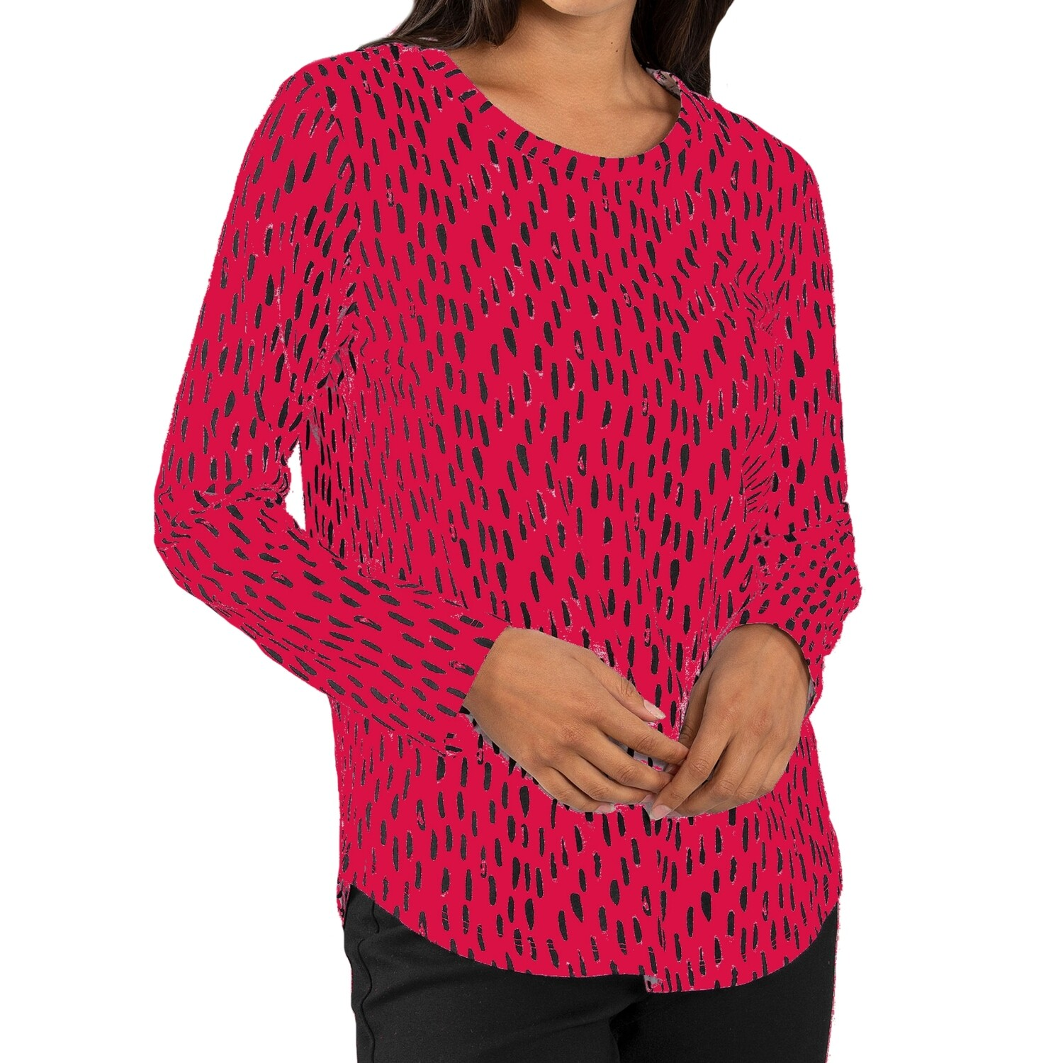 Abstract Ruby Red Print Pure Cotton Top by Yarra Trail