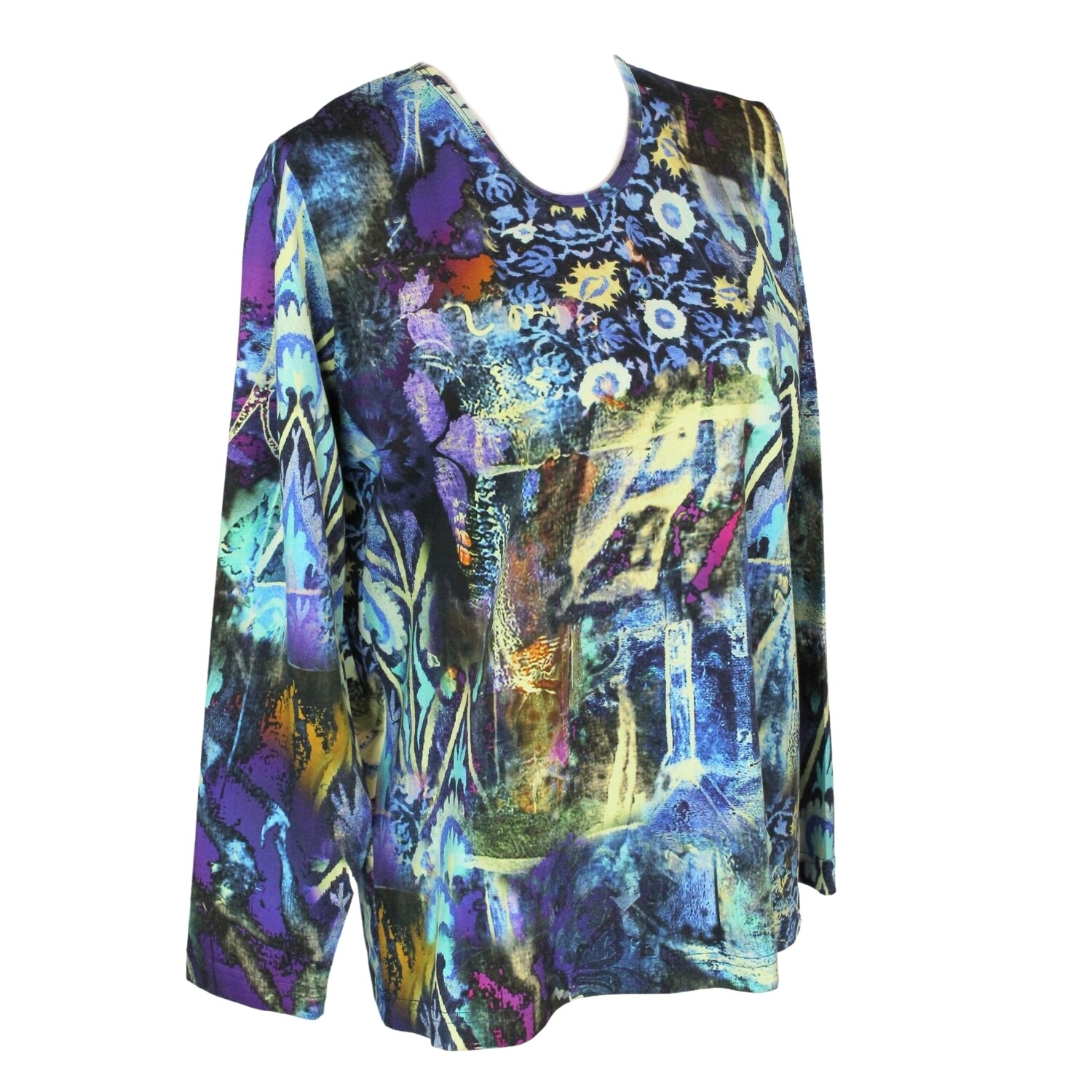 Cotton Stretch Long Sleeve Print Top