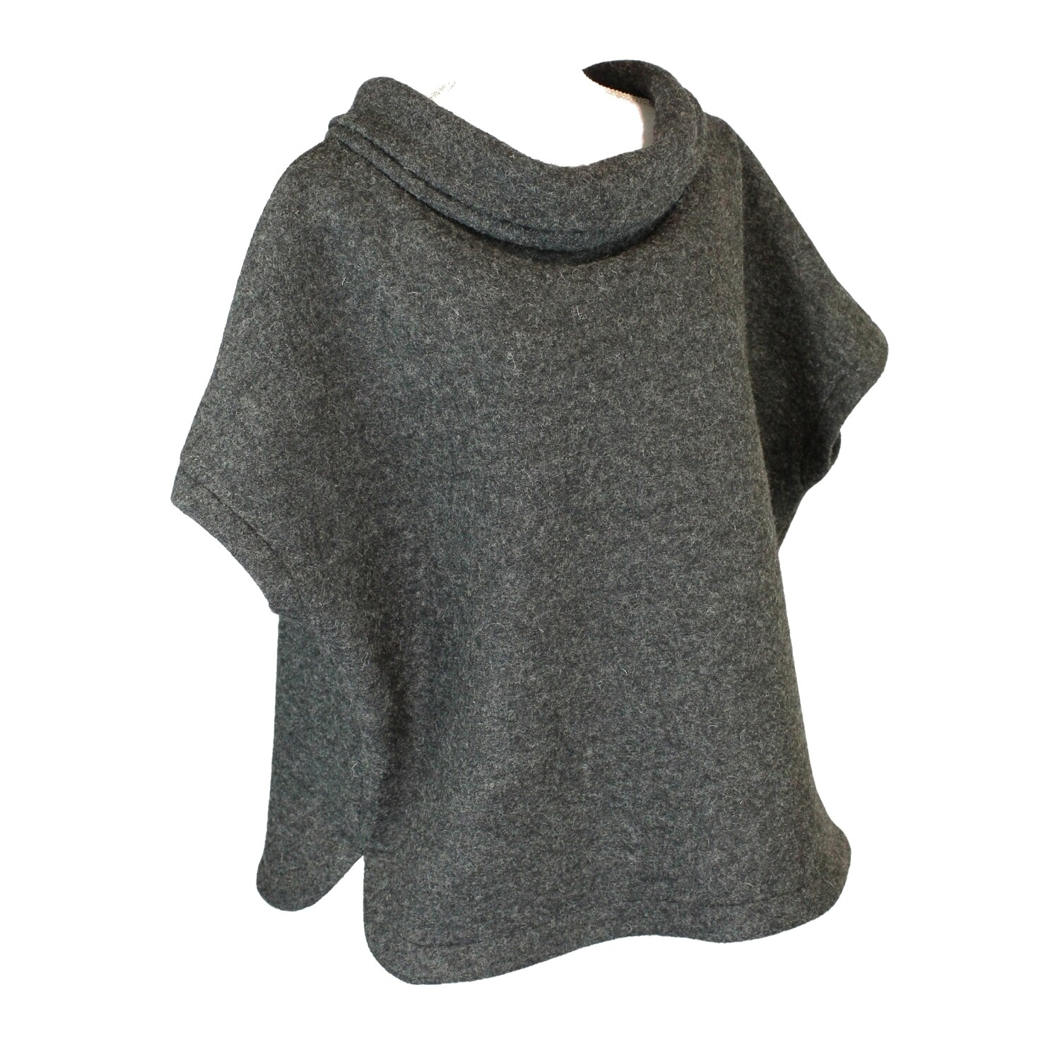Boiled Wool Relaxed Fit Poncho
