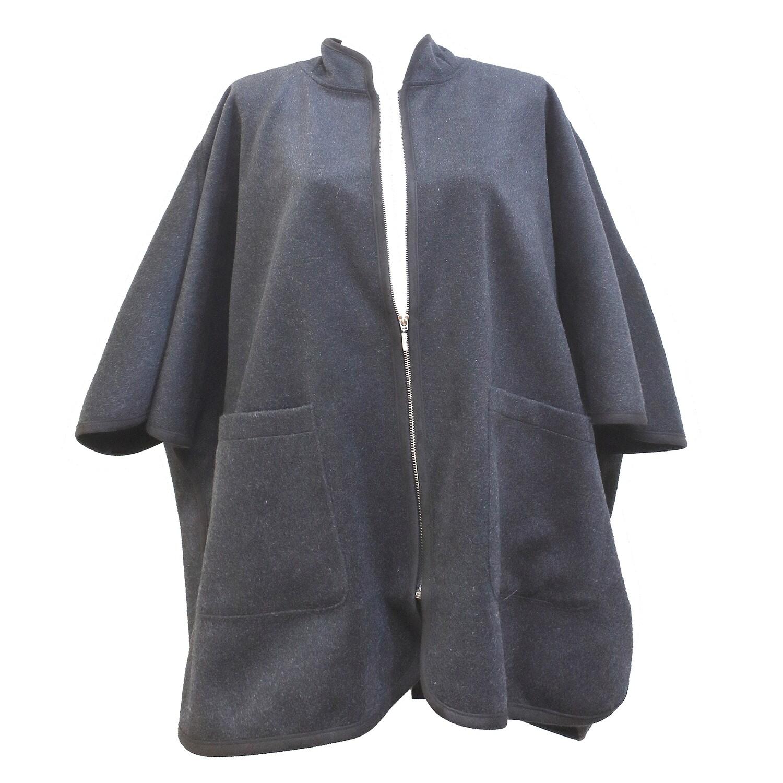 Merino Wool Zip Front Poncho