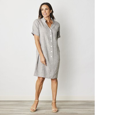 Pure Linen Nehru Collar Popover Dress by See Saw