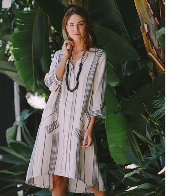 Pure Linen Stripe Shirt Dress by See Saw