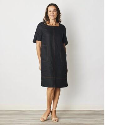Pure Linen Stitch Detail Dress by See Saw