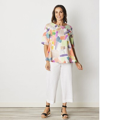 Linen Blend A-Line Print Top by See Saw