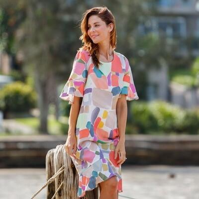 Linen Blend Pastel Print Dress by See Saw