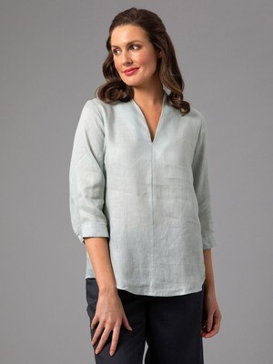 V-Neck Pure Linen Top by Yarra Trail