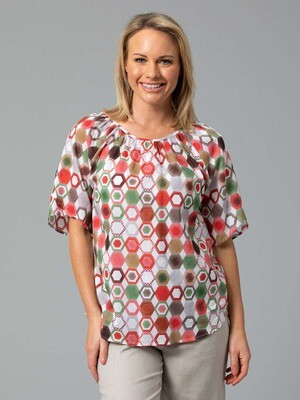 Hex Print Top by Yarra Trail