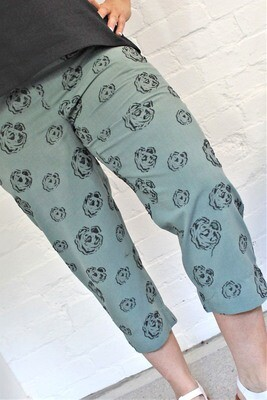 Cropped Print Cotton Pants