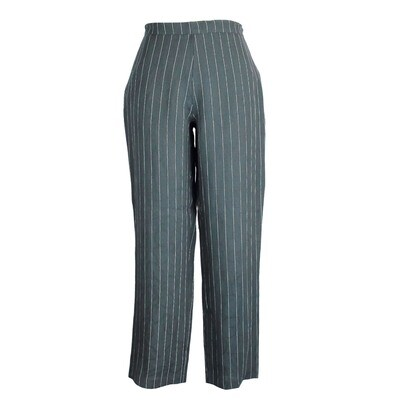 Pure Linen Jacquard Print and Pin Stripe Bibby Pants