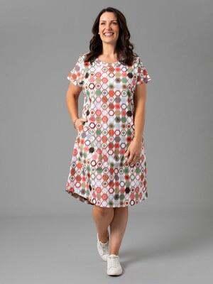 Cotton Jersey Hex Print Dress by Yarra Trail