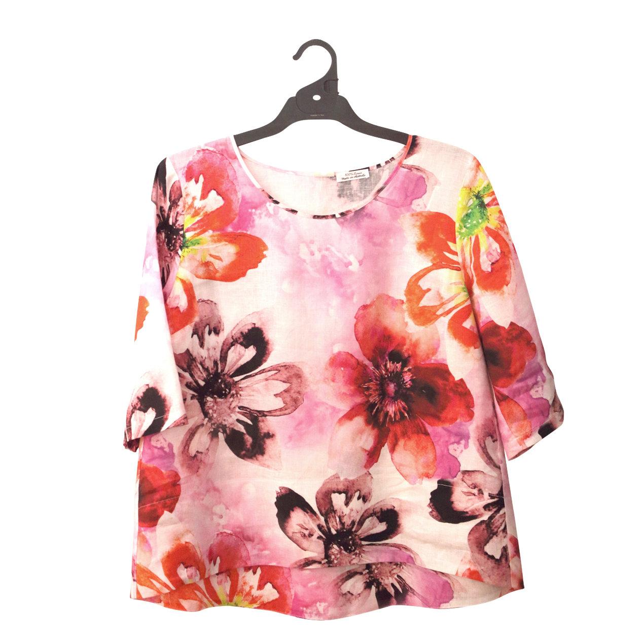 Pure Linen Hilo Floral Print Top