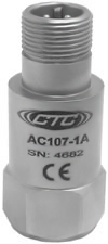 AC107 Series High Temperature Accelerometer, Top Exit Connector/Cable. 100 mV/g