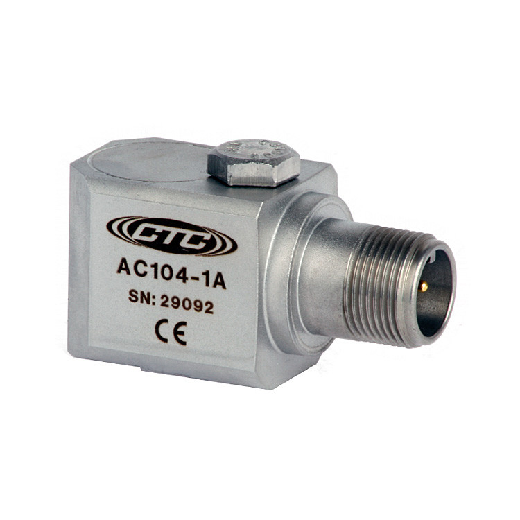 AC104 Series Multi-Purpose Accelerometer, Side Exit Connector/Cable, 100 mV/g