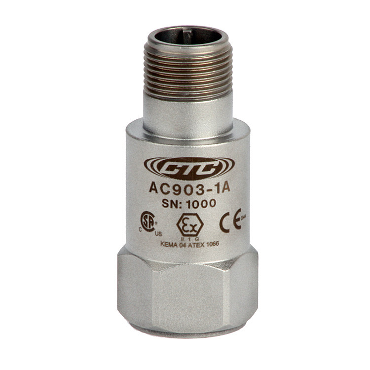 AC903 Series Intrinsically Safe Accelerometer, Top Exit Connector/Cable, 50 mV/g