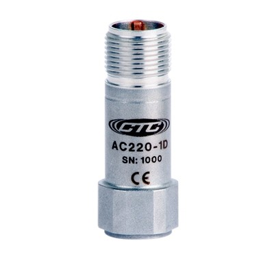 AC220 Series Premium Small Accelerometer, High Frequency, Top Exit Connector, 10 mV/g