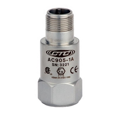 AC905 Series Intrinsically Safe Accelerometer, Top Exit Connector/Cable, 100 mV/g