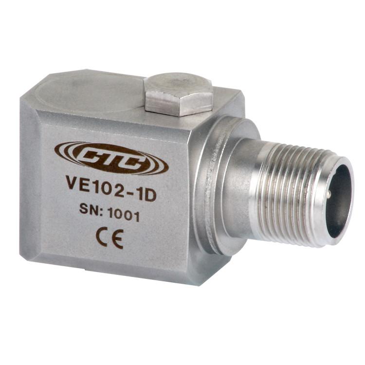 VE102 Series Piezo Velocity Sensor, Side Exit Connector/Cable, 100 mV/in/sec