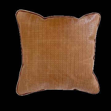 Almofada couro estampado e veludo whisky
