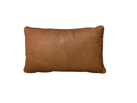 Almofada de rim de couro pelica estampada conhaque